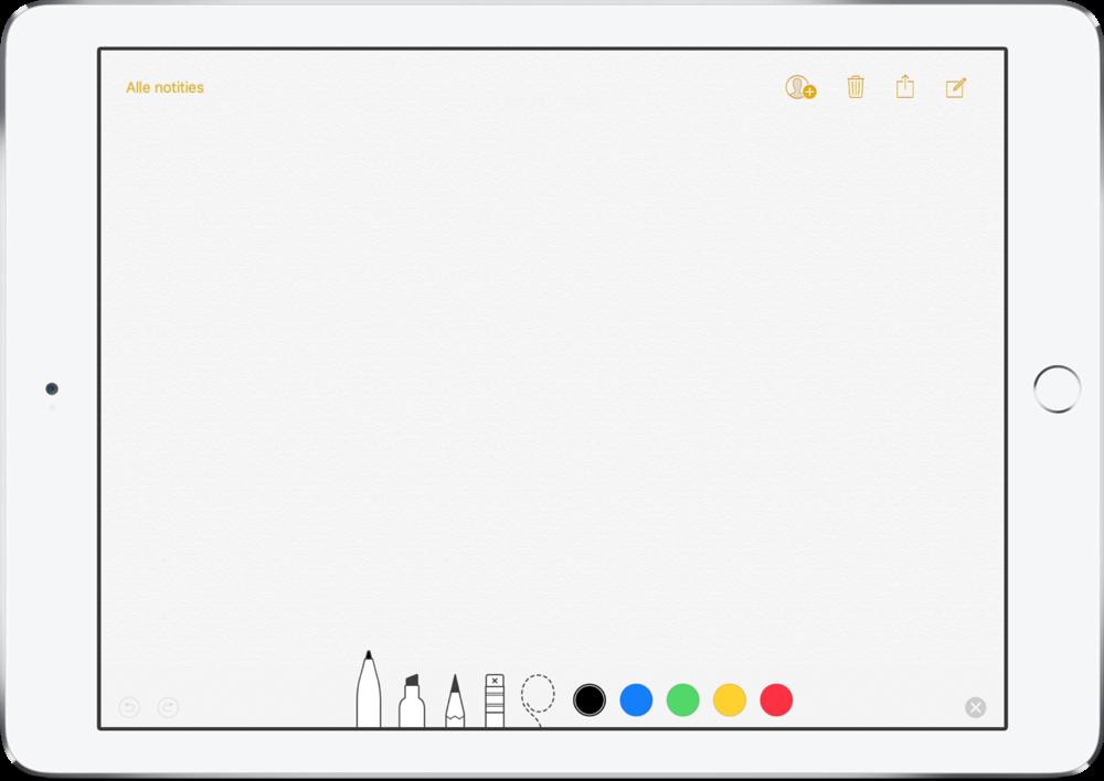Notities op de iPad vanaf het toegangsscherm met Apple Pencil.