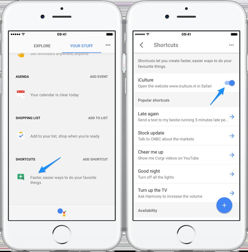 Google Assistant shortcuts bekijken en bewerken