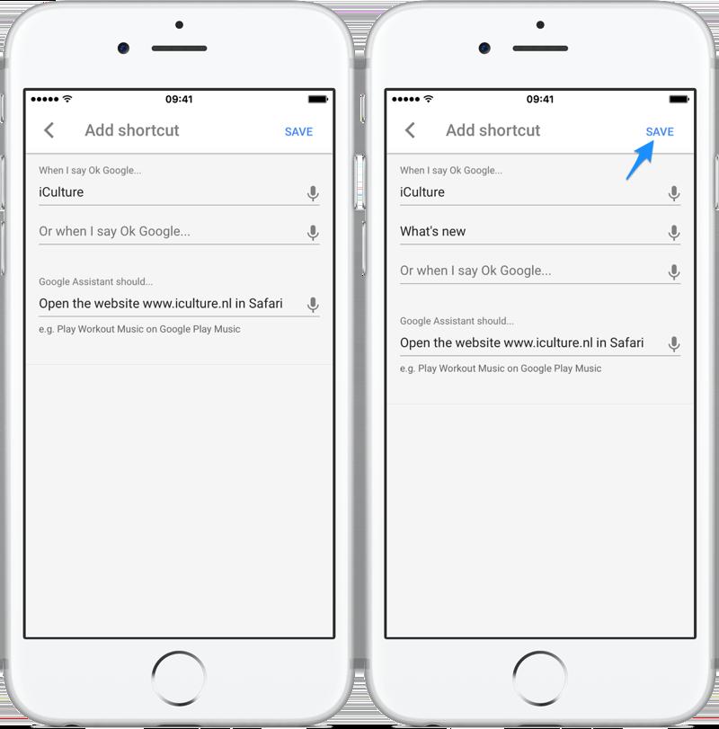 Google Assistant shortcuts maken en opslaan