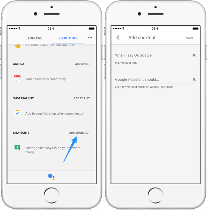 Google Assistant shortcuts