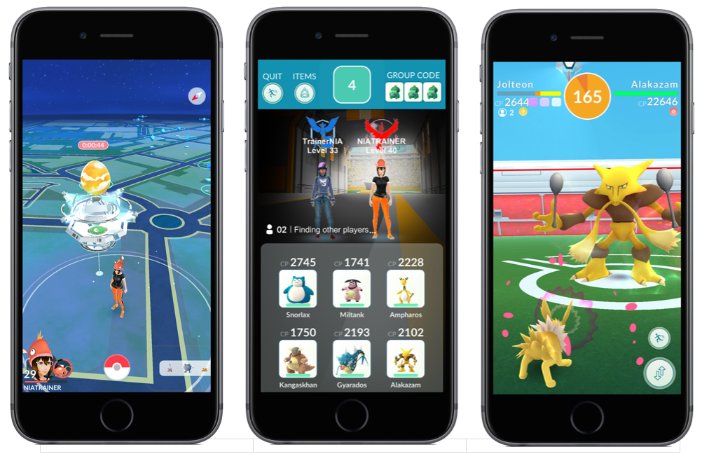 Raid Battle in Pokémon Go Gyms.