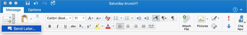 Outlook 2016 voor Mac met stuur later-optie.