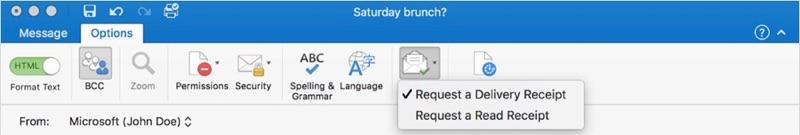 Outlook 2016 voor Mac met lees- en ontvangstbevestiging.