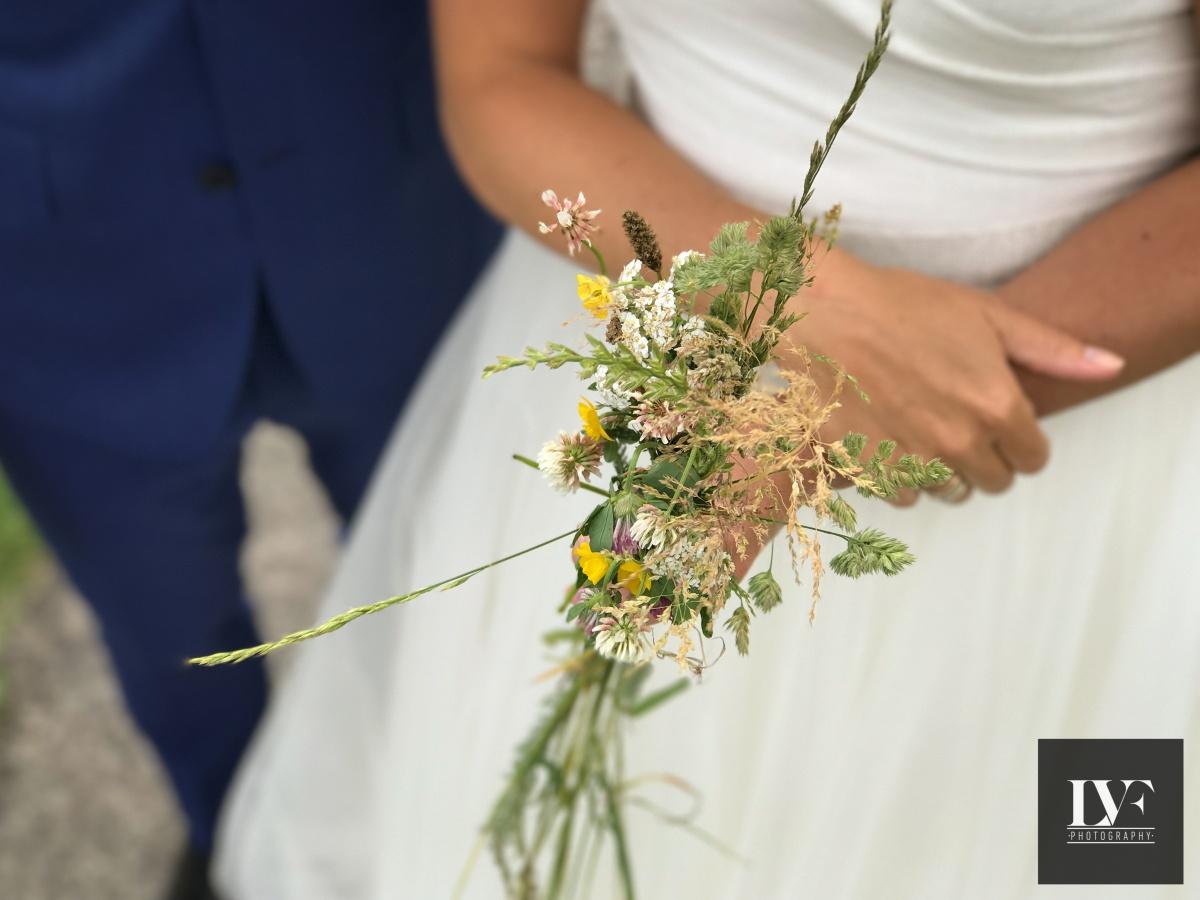 iPhone bruiloft closeup van boeket