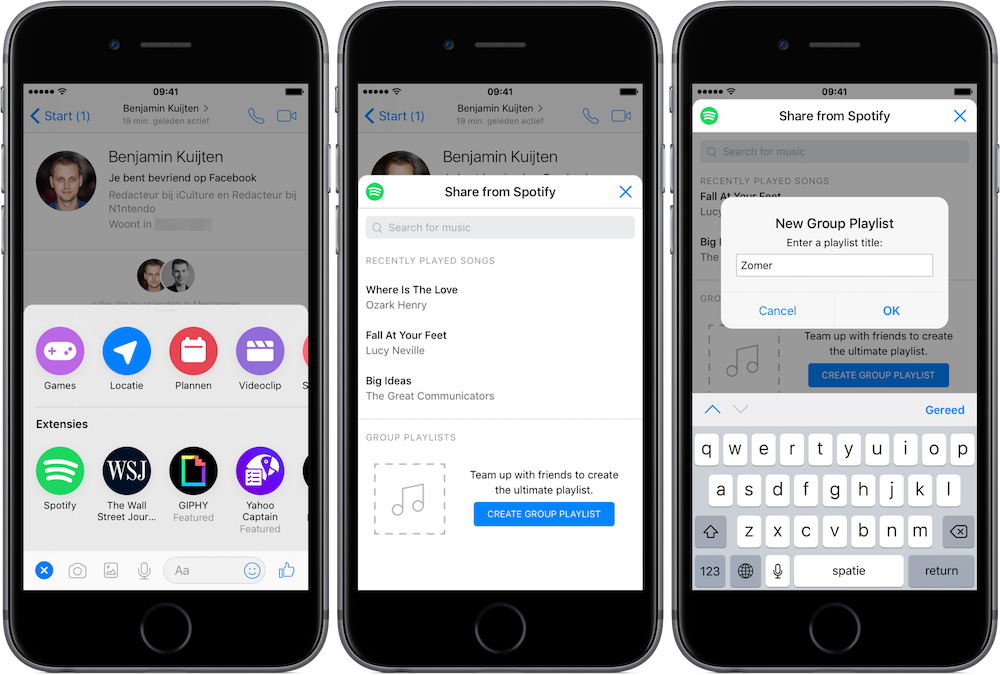 Maak groepsafspeellijsten in Spotify met Facebook Messenger