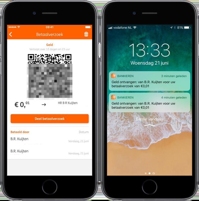 ING Mobiel Bankieren laat zien wie je betaalverzoek overgemaakt heeft.