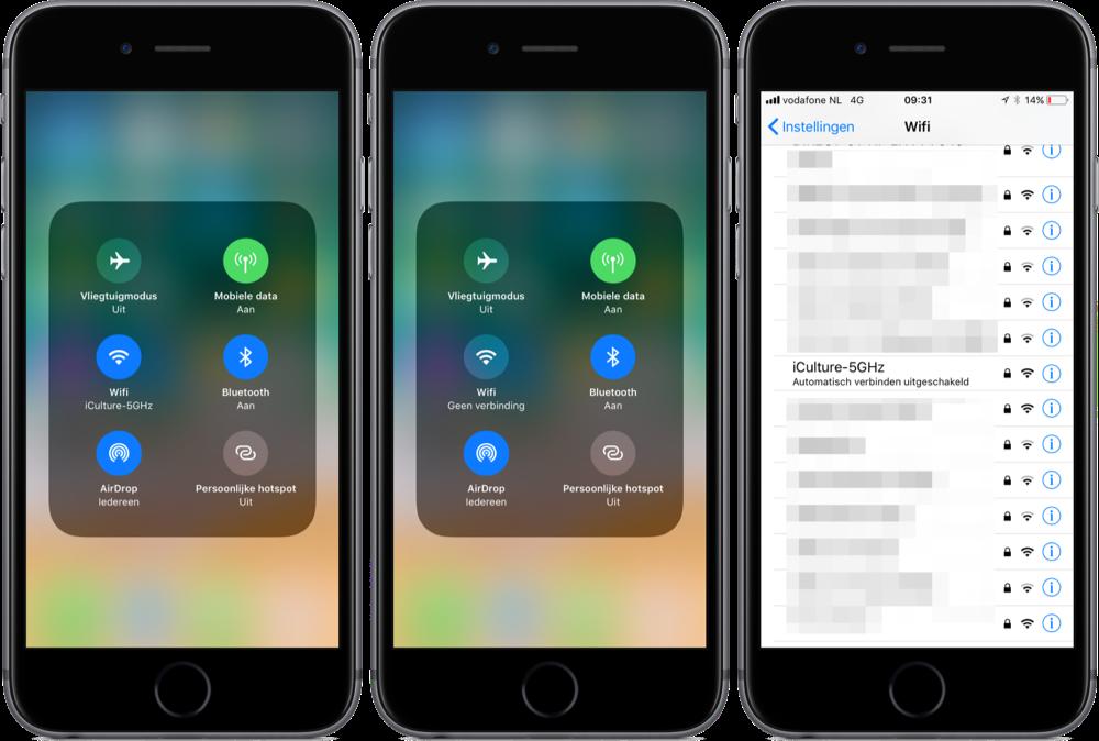 iOS 11 Bedieningspaneel met knoppen voor Wi-Fi en Bluetooth.