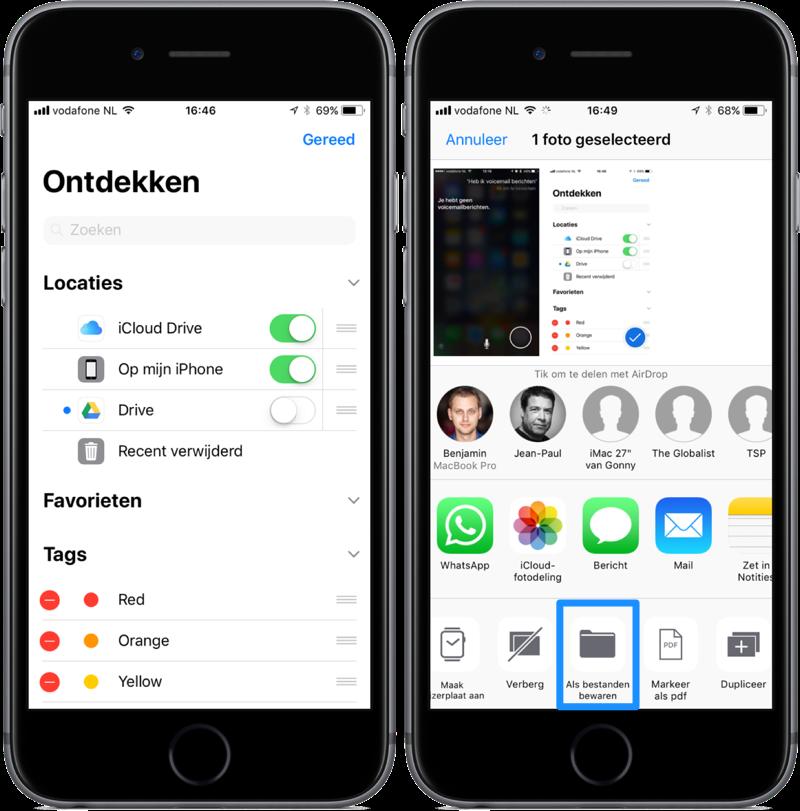 Bestanden in iOS 11 met Google Drive en in deelmenu.