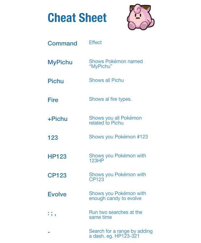 Pokémon Go Zoeken Cheatsheet