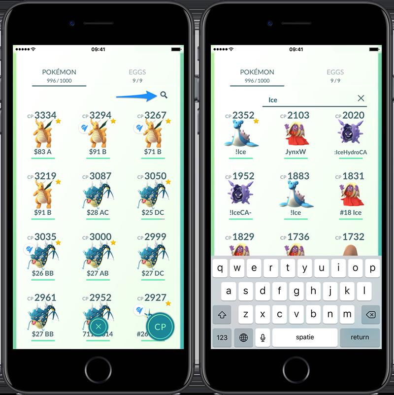 Pokémon Go zoekfunctie