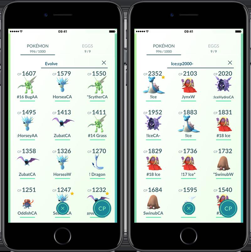 Pokémon Go filteren