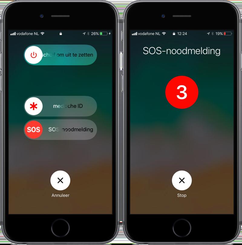 SOS-noodmelding gebruiken op de iPhone.