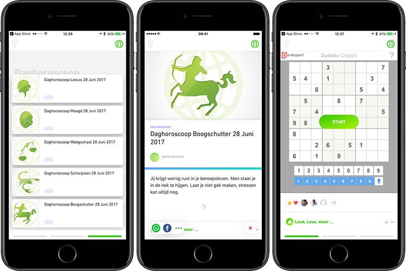 Metro-app: horoscoop en puzzels