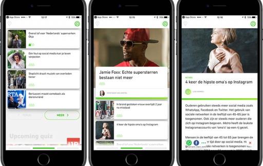 Metro-app startscherm en artikelen