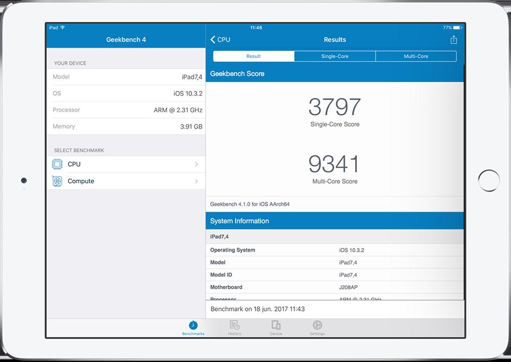 Geekbench iPad Pro 2017