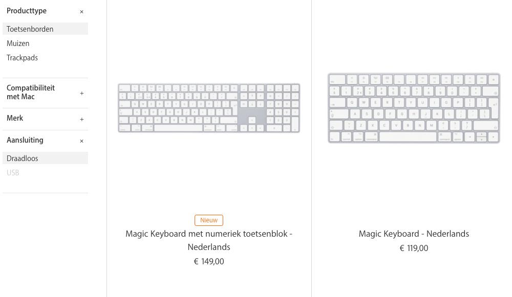 Apple verkoopt alleen draadloze toetsenborden