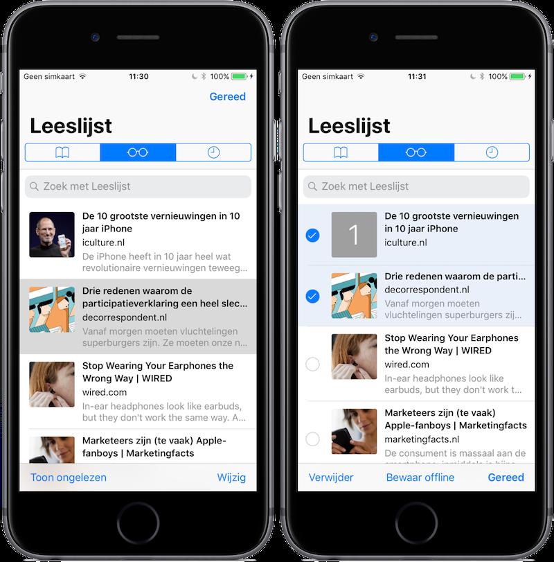 Artikelen in Safari Leeslijst op iOS 11 handmatig offline bewaren