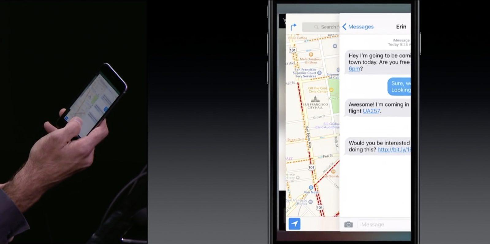 3D Touch multitasking demo bij iPhone 6s