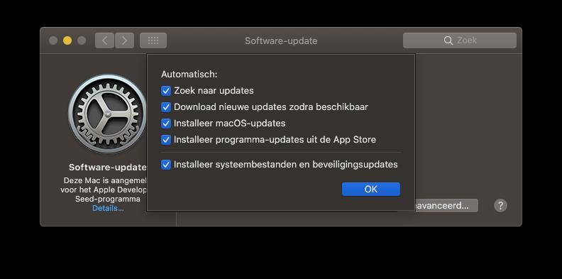 macOS update-instellingen