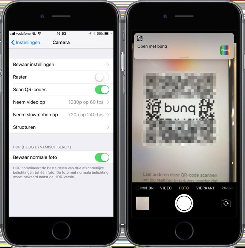 QR-code scannen met de Camera-app.