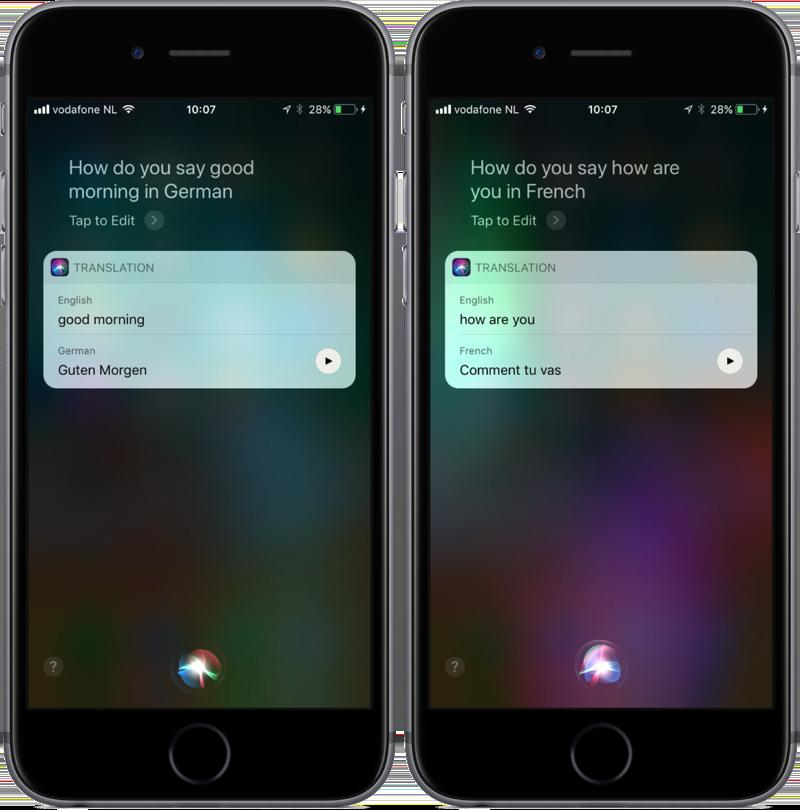 Siri vertalen in iOS 11.
