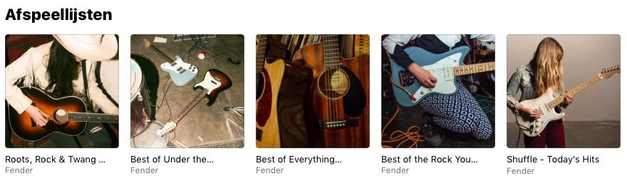 Fender afspeellijsten op Apple Music.