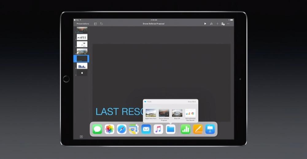 Dock met Bestanden in iOS 11.