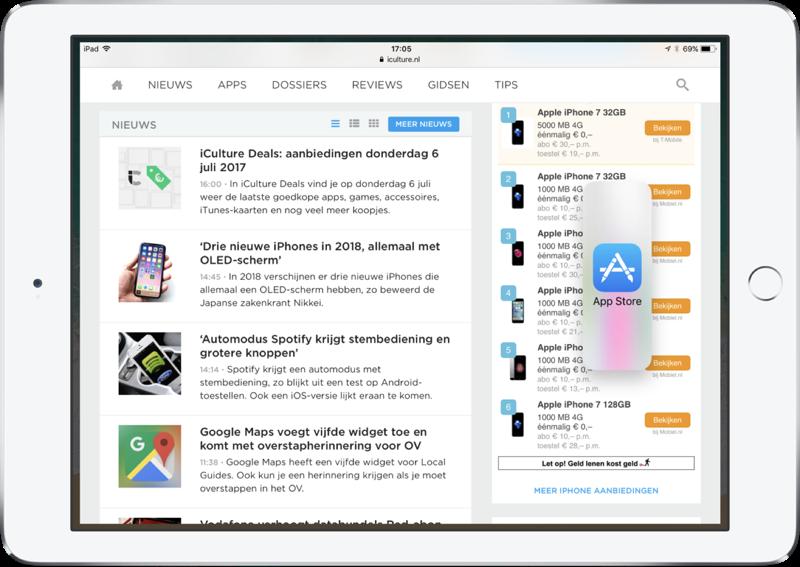 Dock voor multitasking op de iPad in iOS 11.