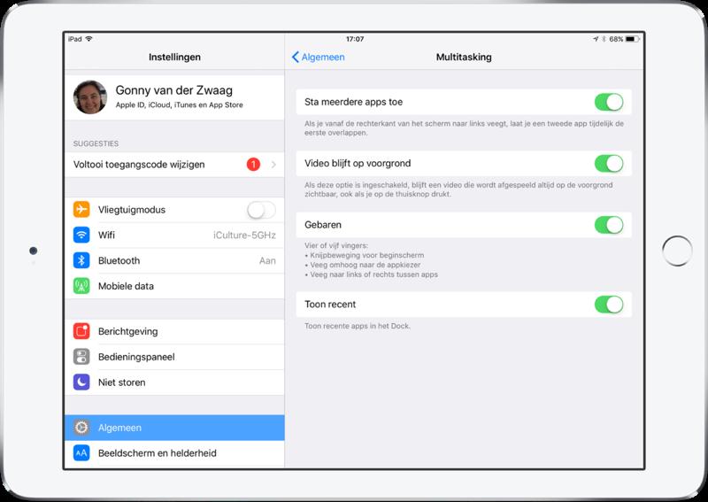 Instelling voor Dock op de iPad in iOS 11.