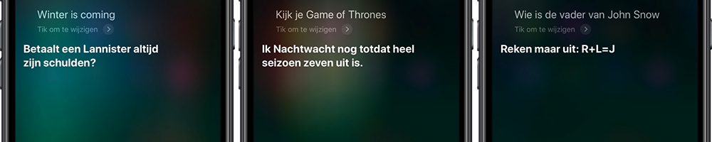 Siri grappige vragen over Game of Thrones