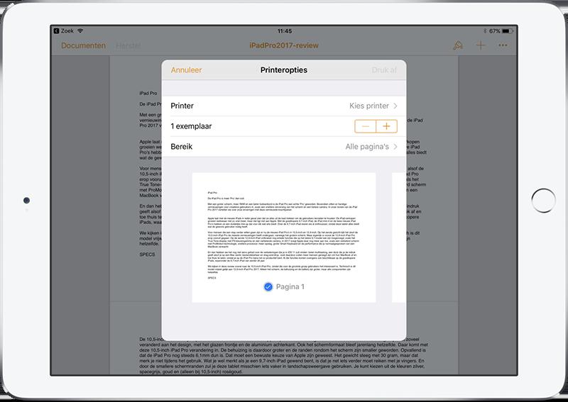 iPad printen liggend met Pages