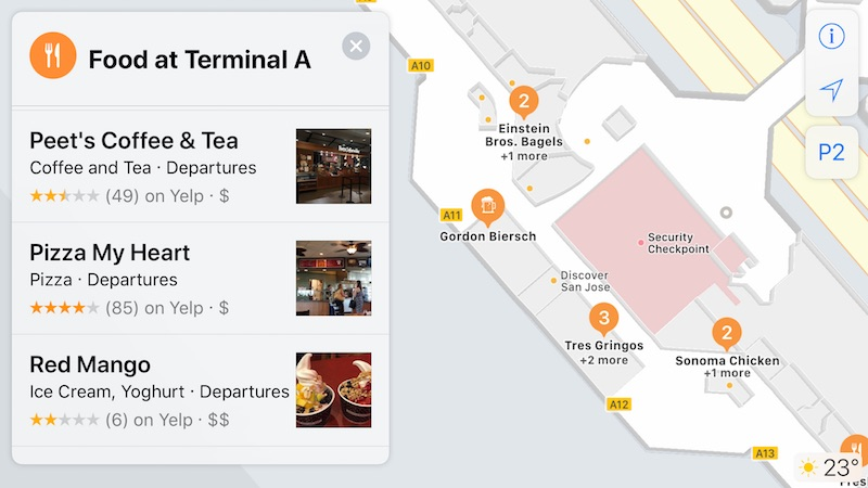 Apple Kaarten plattegrond luchthaven