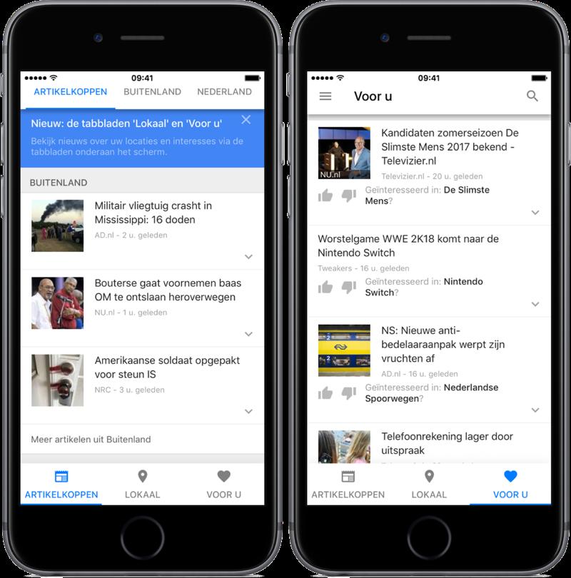 Google Nieuws navigatie.