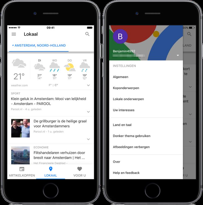 Google Nieuws met lokaal nieuws en instellingen.