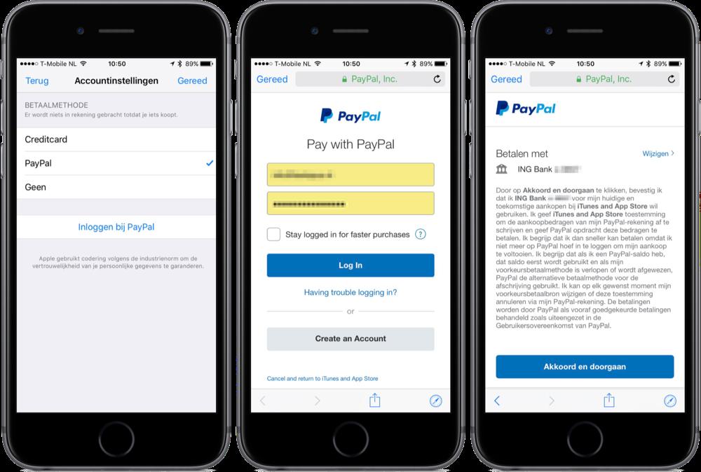 App Store en iTunes-aankopen via PayPal betalen.