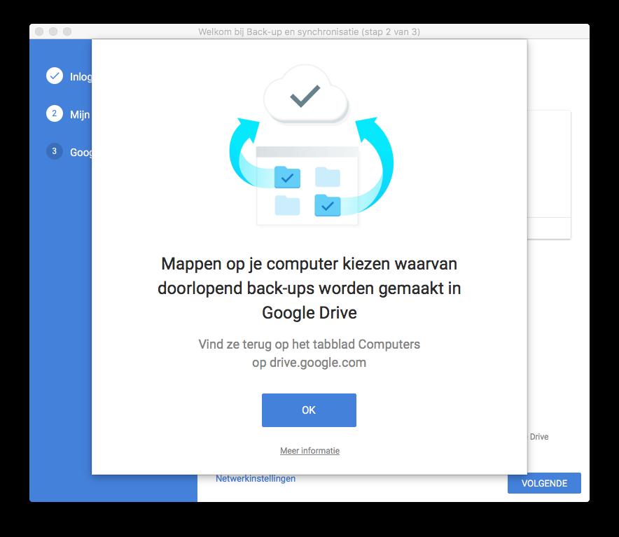 Mappen synchroniseren met Google Back-up & synchronisatie.
