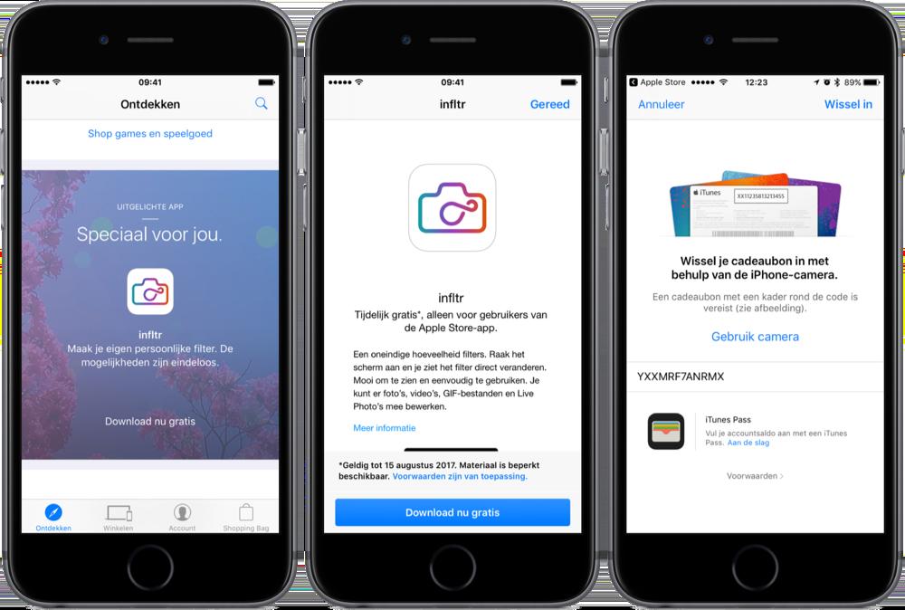 infltr downloaden via Apple Store-app.