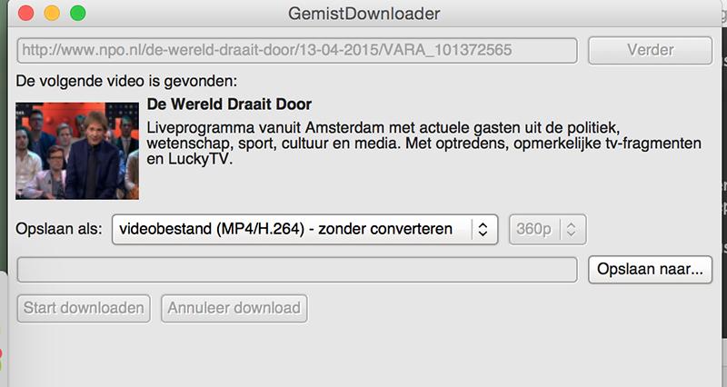 GemistDownloader voor Mac