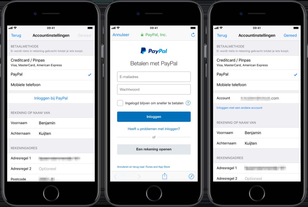 PayPal voor Delen met gezin.