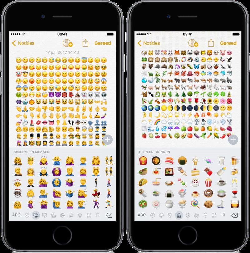 Emoji van gezichten en dieren in iOS.