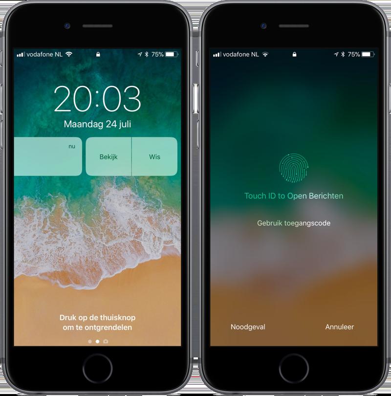 iOS 11 beta 4 melding vegen en openen met Touch ID.