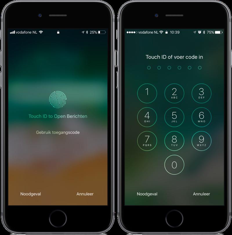 Touch ID op het toegangsscherm in iOS 11 en iOS 10.