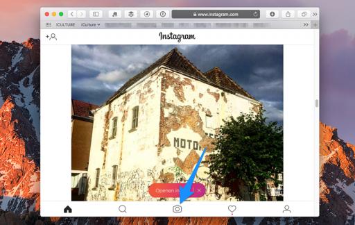 Instagram in Safari op de desktop