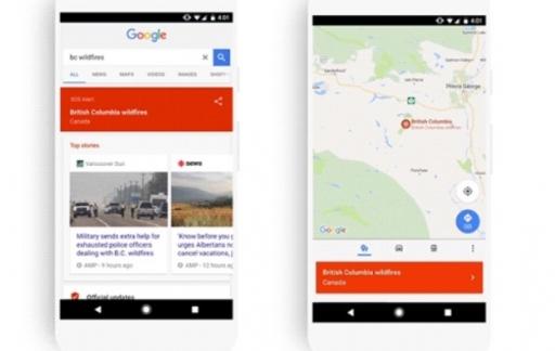 Google SOS Alerts met Maps en Google-app.