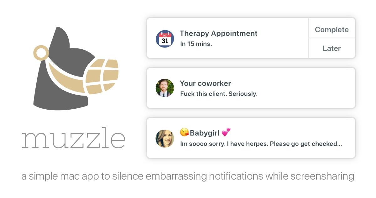 Muzzle macOS-app schakelt Niet storen in bij schermdeling