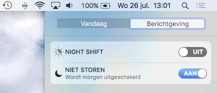 Niet storen in macOS ingeschakeld