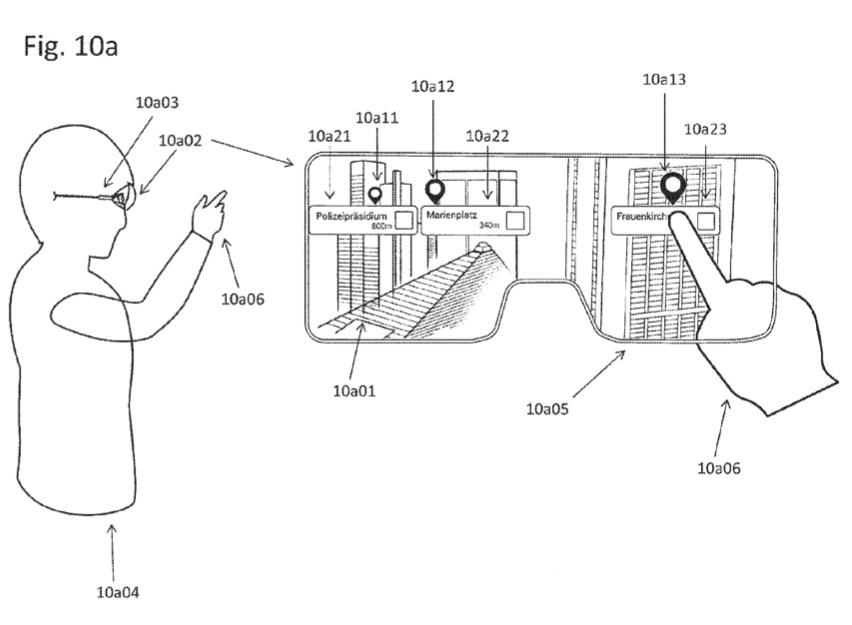 AR op de kaart dankzij slimme bril met points of interest in een patent.