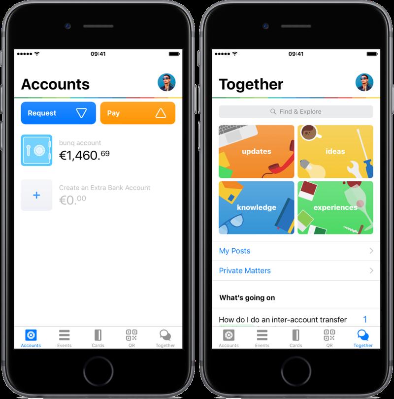 bunq app vernieuwde app met Accounts.