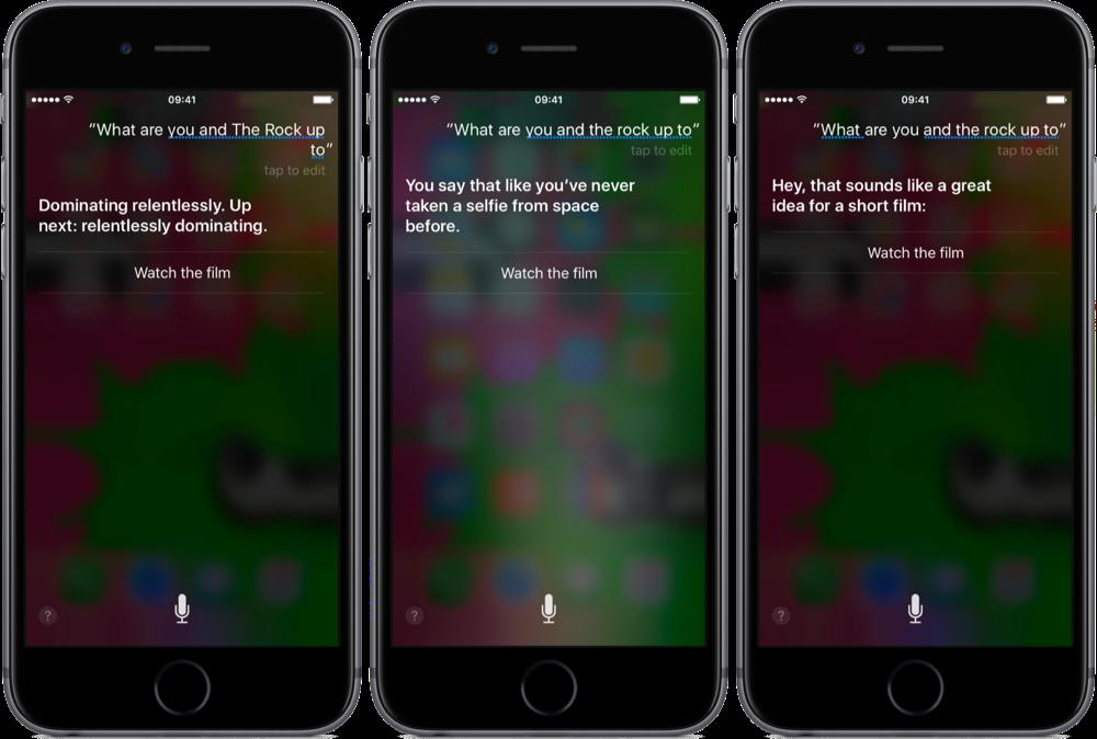 Siri x The Rock vragen.