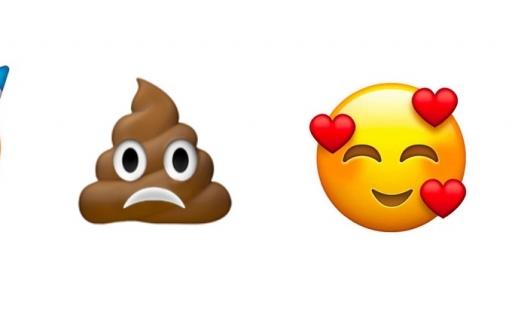 Droevige drol, feest en verliefde emoji.